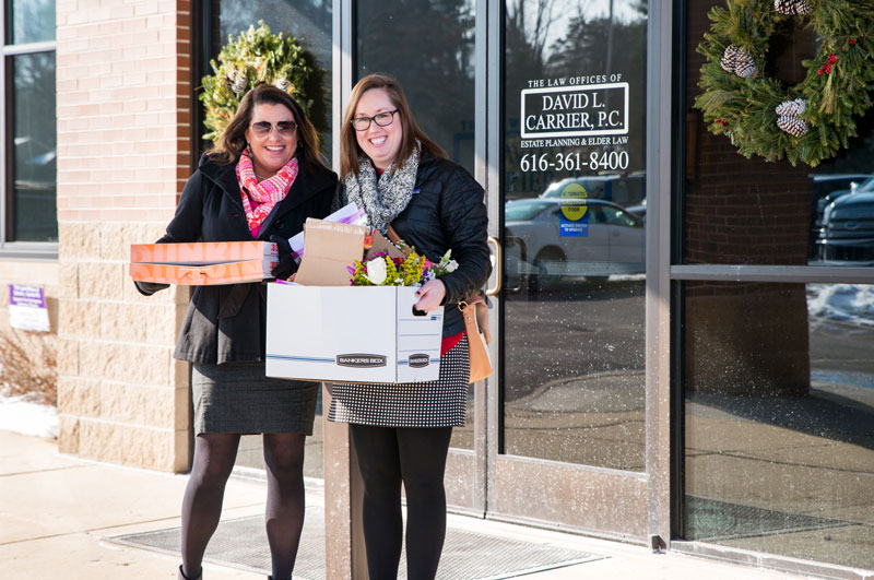Heidi and Hannah deliver Valentine's flowers