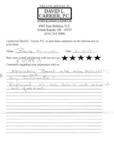 david carrier client testimonial letter from barb k.