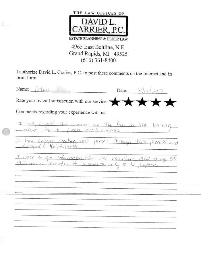 david carrier client testimonial letter from Debra X.
