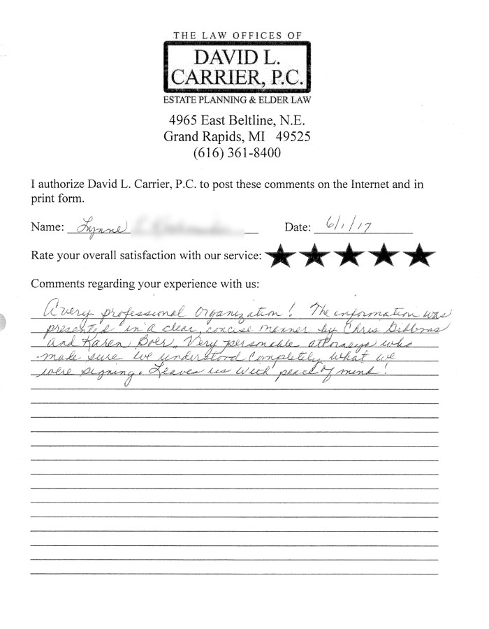 david carrier client testimonial letter from lynne k.
