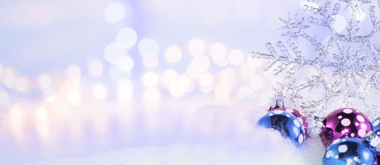christmas ornaments in snow background