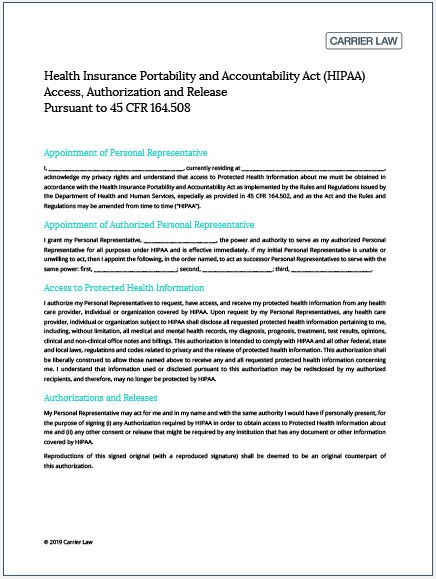 hipaa authorization form image
