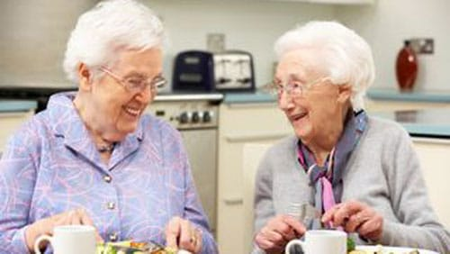 two elderly ladies talking and eating together