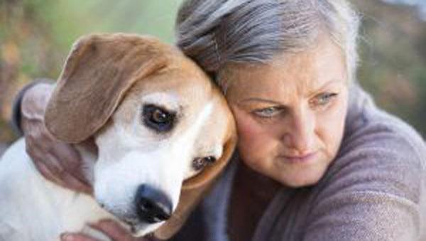 newly widowed woman with dog